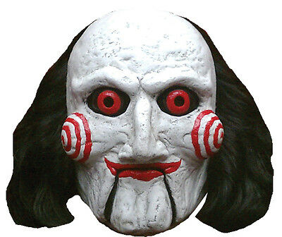 Halloween Costume SAW BILLY PUPPET WITH HAIR LATEX DELUXE MASK Haunted House NEW