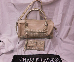 045-Charlie-Lapson-Pearl-Color-Purse-Wallet-w-Snake-Embossed-Trim