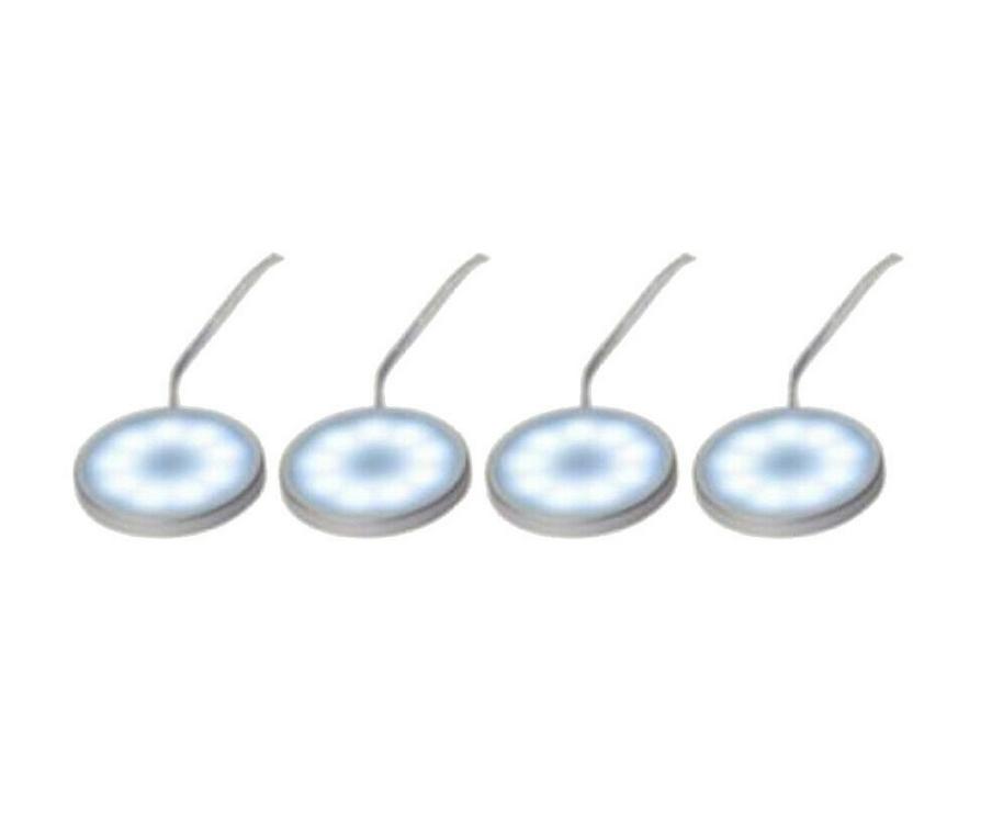 Hi Lite LED Möbel Einbauleuchten kaltweiß Licht Lampen 4er Set 4 x 0,6W Silber