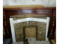 Mahogany fireplace with marble inset