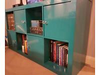 Rare turquoise ikea Kallax high gloss book shelf or tv side unit