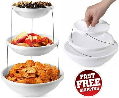 3 Tier Serving Tray - Collapsible Appetizer Serving Tray Bowl Platter Party 3 Tier Snacks Salad Fruits