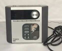 TIMEX T617S Dual Alarm Clock Radio CD MP3 Player Nature Sounds 3.5mm aux line in