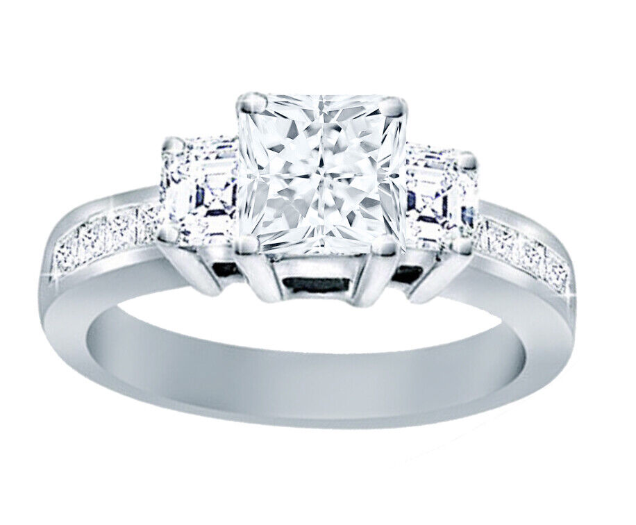 GIA Certified Diamond Engagement Ring 2.22 Carat Princess Cut 18k White Gold