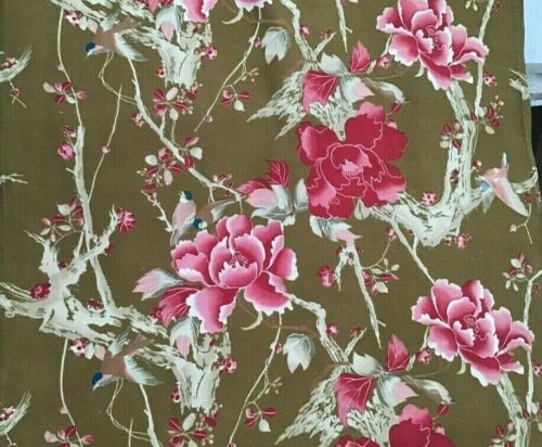 Antique French 19th Century Cotton printed  Japonisme Birds  Upholstery