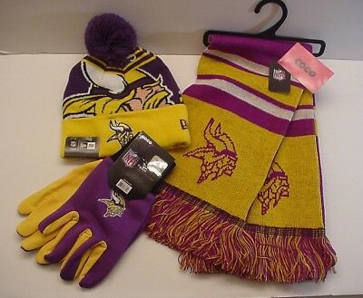 - NFL Minnesota Vikings Scarf-Cap-Gloves  Logo Apparel Gift Set Authentics (WZFO)
