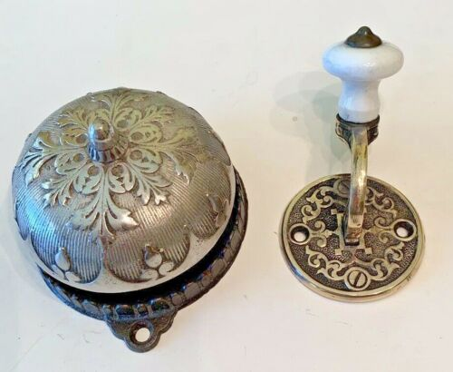 Antique Sargent Brass Doorbell And Lever