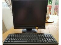 17 inch flat screen monitor and keyboard