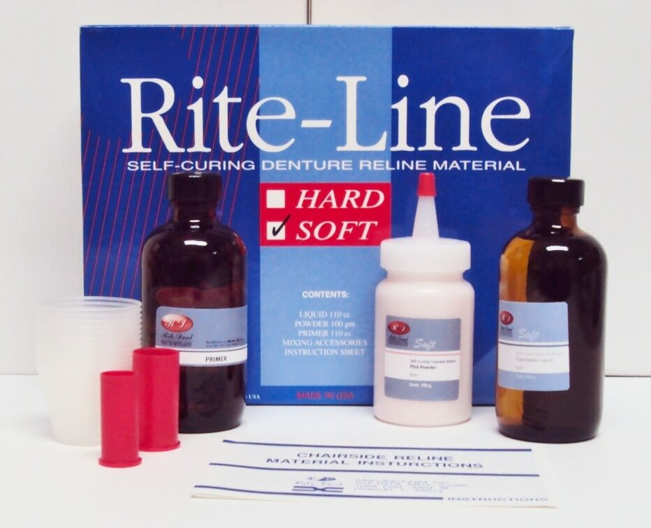 Denture Chairside Reline Tissue Conditioner Acrylic Soft Kit Professional System