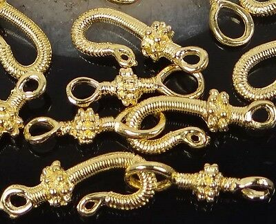 16 pcs / 8 pair Gold Plated Pewter Hook Clasps ~ Lead-Free