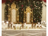 WEDDING BACKDROP, FLOWERWALL, THRONE CHAIR, CENTREPIECE, STAGE, TABLE CLOTH, LIGHTS, CHIAVARI, SOFA