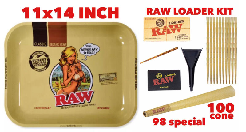 raw metal tray(GIRL)LARGE+raw 98 special size cone(100 pack)+cone loader kit