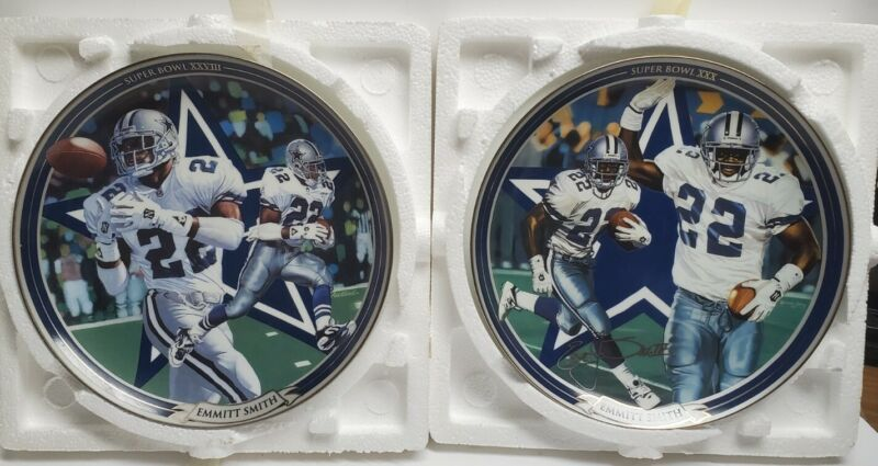 Lot of 2 Emmit Smith Collector plates Bradford  Super Bowl 28 & 30 Running Back