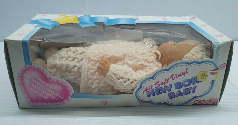 New Born baby Gigo Toy 21cm soft vinyl doll NIB vintage retro sleeping eyes girl