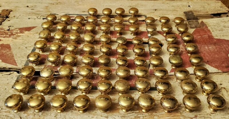 Solid Brass Cabinet Knobs Drawer Pulls Round Mushroom Type - 84 Count