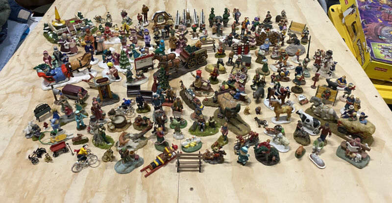 HUGE LOT Christmas Village Accessories Figurines DEPT 56, LEMAX, O
