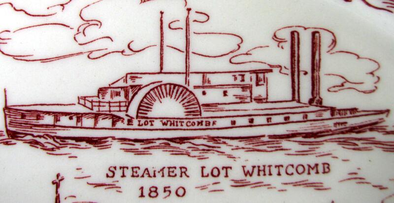 MILWAUKIE, Oregon 1850-1950 Commemorative Maroon Plate, Vernon Kilns Pottery