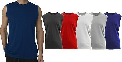 Mens Muscle Tank T-Shirt Cool Mesh Colors Workout Fitness Lounge Running 2-PACK (Color Run Shirts)