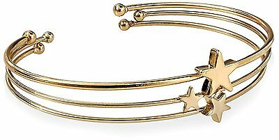 Fortuni Gold Plated Triple Star Adjustable Open Bangle Cuff Bracelet