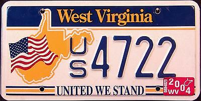 "WEST VIRGINIA "" UNITED WE STAND - 9/11 - FLAG "" WV SPECIALTY License Plate"