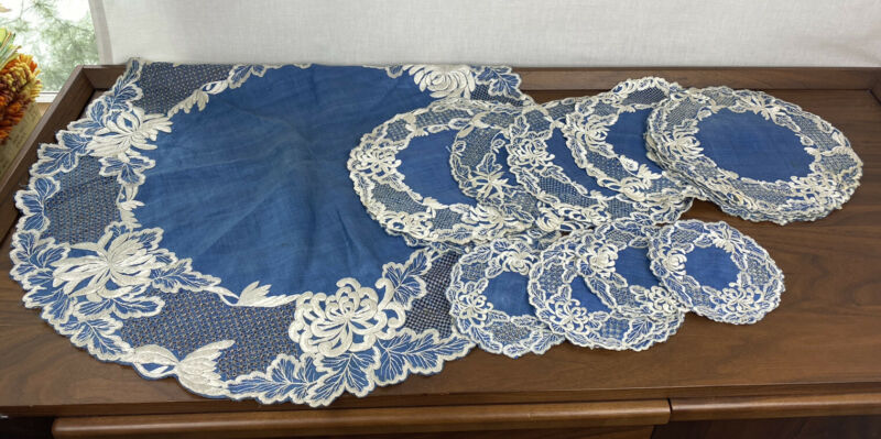 Antique 22 Hand Embroidered Society Silk Floral Doilies Placemats Tablecloth SET
