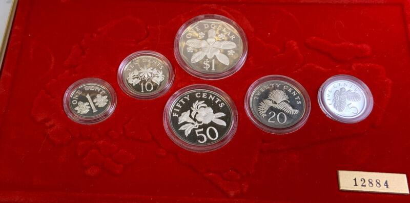 1986 SINGAPORE 6 Coin Proof Set With COA AND ORIGINAL BOX