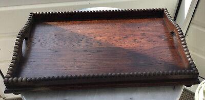 "Antique Oak Cockbeaded Tray On Bun Feet. 14"" X 8.75"""