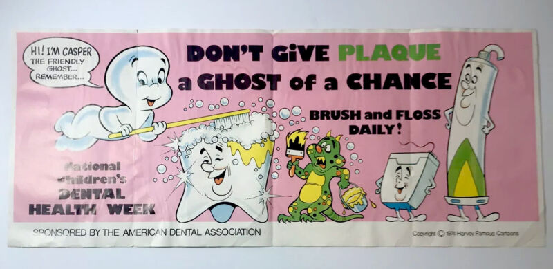 1974 Casper The Friendly Ghost American Dental Association Poster Harvey Cartoon