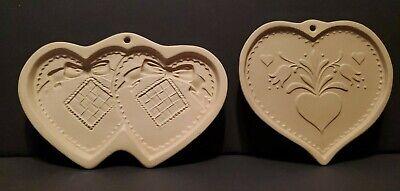 1980s Brown Bag Cookie Art Hill Design Heart Flower Molds Vintage Set of 2
