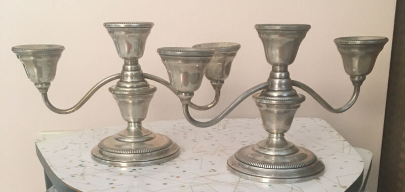 A+Vtg Watrous Weighted Candleholders Candelabra Convertible 3 Light 2 Arm Candle