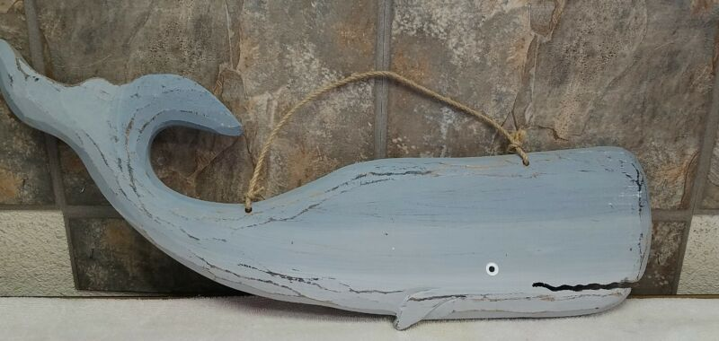 "Sperm Whale  Sign  23.75"" long Nautical Wooden Wall Hanging Plaque"