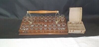 Black Forest Wood with Silvered Metalwork 40 Shot Glass Communion Tray & Glasses