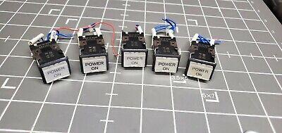 Omron Lightedilluminated Power On Pushbutton Switch M2sj-801 Lot Of 5