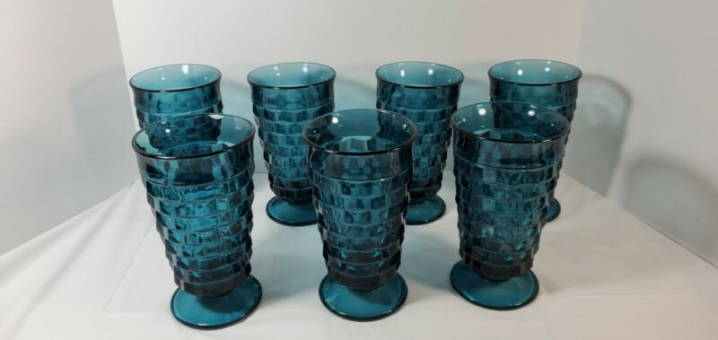Vintage Riviera Blue Indiana (cubist) Whitehall Coolers Set of 7 Iced TeaGlass