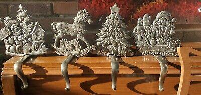 4 Cast Iron Christmas Stocking Holders Metal Heavy Pewter-Look EUC