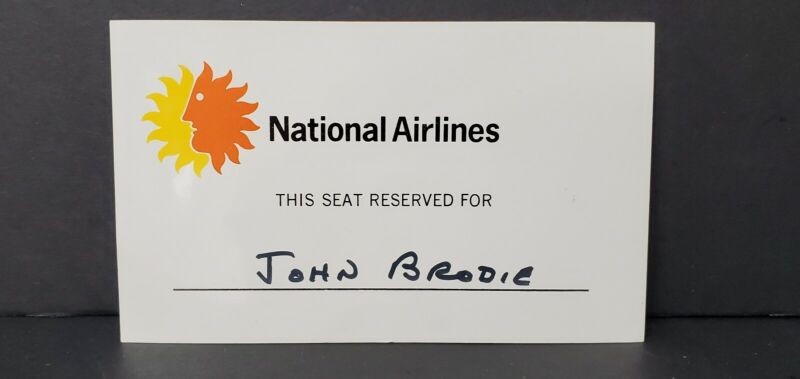 Vtg National Airlines Reserved Seat Card for John Brodie San Francisco 49ers NFL
