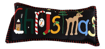 Handmade Christmas Pillow Black Felted Wool Applique Holiday Decor Gift Xmas ()