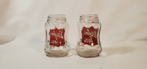 Antique PR S & P Shakers Clear Glass Ruby Red Flashed Dayton 1920