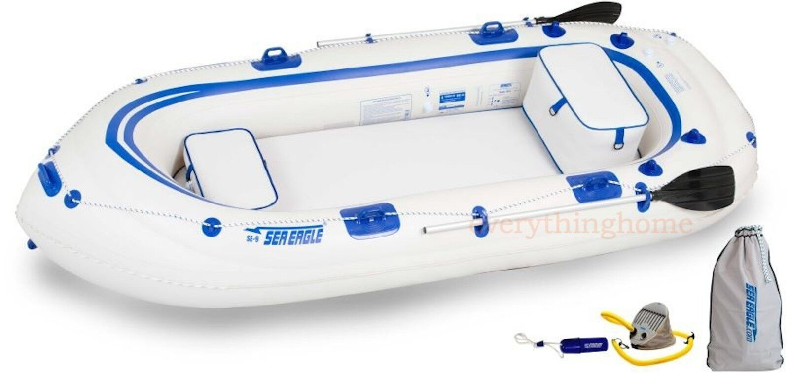 Sea Eagle SE9 Startup Package Inflatable Boat 2 Oars, 2 Seat