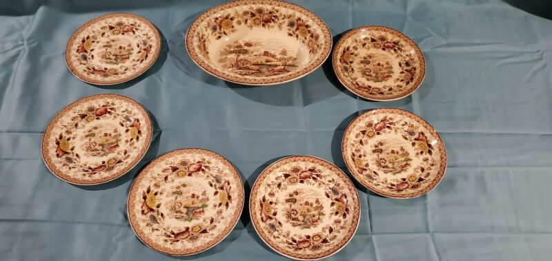 Ridgway 1792 Woodland china 7 piece Made In England. Fair Condition 2 saucer  3