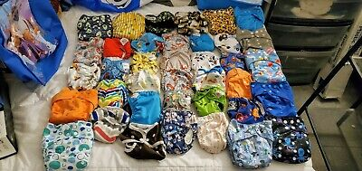Huge Lot Of Reusable Cloth Baby Diapers And Inserts Grovia, Happy Flute