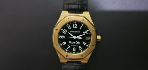 AUDEMARS PIGUET ROYAL OAK WITH PAPERS! 18KT GOLD – BLACK MILITARY DIAL - watch picture 1
