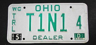 Vintage 1985 Original OHIO Watercraft trailer Dealer License Plate T1N1