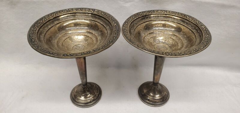 Sterling silver compote Pair