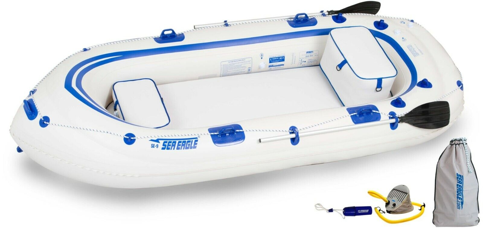 Sea Eagle 9 Inflatable Boat Startup Package 2 Seats, 2 Oars,
