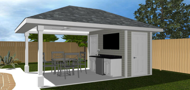 Cabana pool house plans - custom home design 1