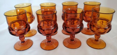 "VINTAGE INDIANA GLASS KINGS CROWN 4-1/2"" AMBER GOBLETS 4 0Z SET OF 8"