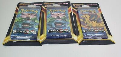 Lot (3) Pokemon XY Evolutions Blister Packs! Sealed Booster Pack + 5 Cards NEW