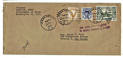 Cover from Rangoon Burma with Scott 102 106 109 stamp 1953 Diplomatic Pouch post