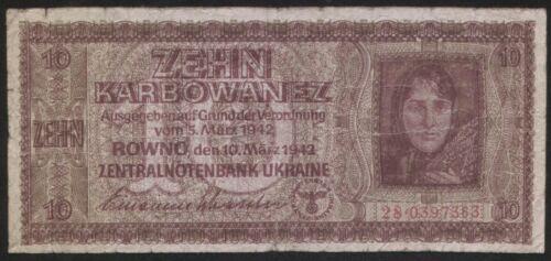 Ukraine 10 Karbovanez 1942 Pick 52 VG